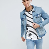 Pull&Bear Denim Jacket In Mid Blue at asos.com