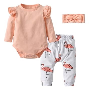 Newborn Autumn Baby Girls Clothing 3Pcs Set Cute Pink Ruffle Long Sleeve Tops+Flamingo Print Pants+Headband Toddler Clothes