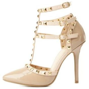 Nude Studded Strappy Pointed Toe Pumps by from Charlotte Russe