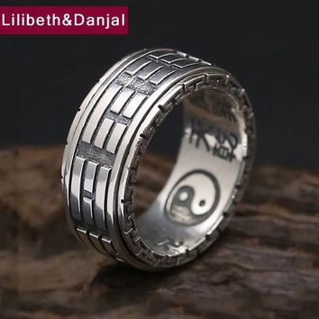 925 Sterling Silver Ring Men Jewelry Couple Gossip Turn Mantra engagement Ring Women Gift Vintage Fine Jewelry R7