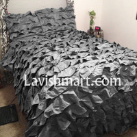 Carbon Gray Waterfall Ruffled Duvet/Quilt/Doona Cover Set - 100% Egyptian Cotton - Select Size