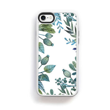 Illustrated botanical green and blue boarder on white for iPhone 7