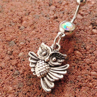 Belly Button Ring Owl Navel Ring Jewelry Piercing by MidnightsMojo