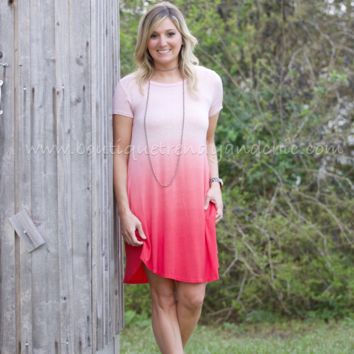 FOREVER AND EVER SHORT SLEEVE OMBRE DRESS