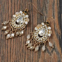 Crystal Beaded Drop Earrings