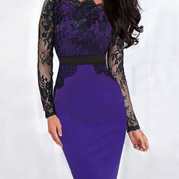 Purple Off Shoulder Sheer Lace Long Sleeve Midi Dress