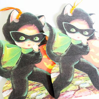 Black Cat Costume - Halloween Tags - Set Of 3 - Black Cat Girl - Trick Or Treat - Retro Costume Tag - All Hallows Eve - Cat Shaped Tag