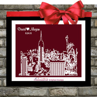 New York City Skyline Print  : Custom Weding Gift - New York Art.  Any Location - For Her. Personalized Skyline Poster - Wedding Present