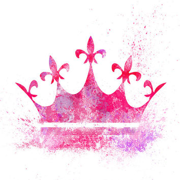 Pink Splatter Art, Princess Crown, Printable Poster, Girls Room, Nursery Art, Wall Art