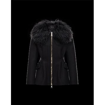 Moncler BOUVIER Classic Neckline Fur Collar Black Jackets Wool Flannel/Mongolian Fur/Feather Womens 41473300FI