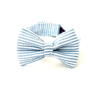 Boy's Bow Tie - Light Blue Seersucker Stripe - Pale Blue Bowtie - any size