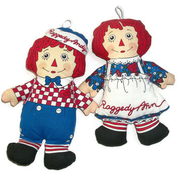 Vintage Raggedy Ann and Andy Beanbag Dolls Ornaments - 7 Inch 8 Inch Soft Doll Toys Collectibles - Christmas Ornaments