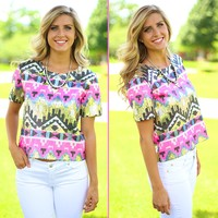 Tres Chic Tribal Top in Pink