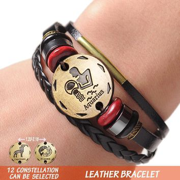 12 Zodiac Signs Cuff Leather Bracelet Men Charms For Women Jewelry Couple Lovers Bracelets & Bangles