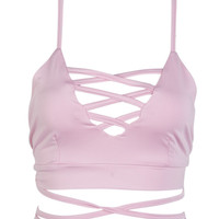 Pink Lattice Strappy Cross Back Crop Top