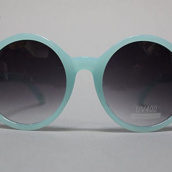DISCO DIVA SUNNIES, Robin's Egg: Vintage Sunglasses Large Men Women Grunge Mod Round Circle Glam Retro Hipster Rocker Indie Blue 60s 80s 90s