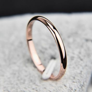 Simple Wedding Couples Rings Titanium Steel Rose Gold Anti-allergy Smooth, Man or Woman Gift