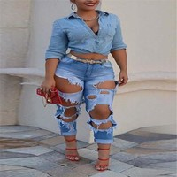 Stylish Women clothes Denim Skinny Ripped High Waist Stretch Hole Jeans Slim Button pocket Pencil Trousers one pieces
