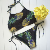 Black Print Fruit Pineapple Bikini Set High Neck Sporty Tank Bikinis Top Ananas Swimwear Brazilian Triangle Swimsuit