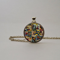 Marvel Comic Strip Superhero Pendant Necklace or Keychain