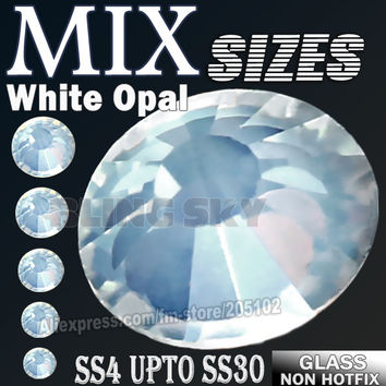 All Sizes Mix White Opal Nail Art Rhinestones SS3 SS4 SS5 SS6 SS8 SS10 SS12 SS16 SS20 SS30 DIY strass glitter Non HotFix crystal