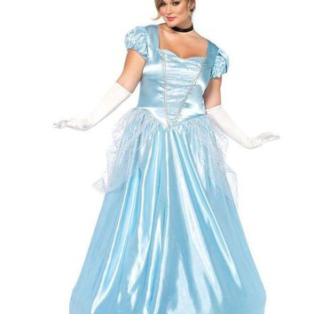 ONETOW 3PC.Classic Cinderella,long satin ball gown,choker,headband in BLUE
