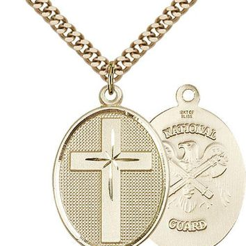 Men's 14K Gold Filled Cross National Guard Military Catholic Medal Necklace 617759657036
