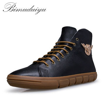 New Men Winter/Autumn Boots Warm Genuine Leather Waterproof Motorcycle Boots Snow Boots