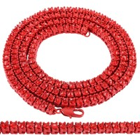 "Hip Hop Red 5mm Solitaire 30"" One Row Tennis Chain"