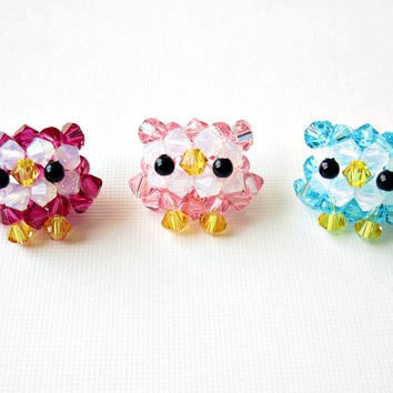 Baby Owl Necklace - Swarovski Crystal Beaded Sterling Silver- Choose ONE color