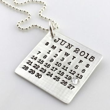 Mark Your Calendar Necklace with Crystal | Zazzle