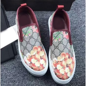 Gucci Fashion Trending Casual Flowers Design Loafer Shoes Flat Shoes G
