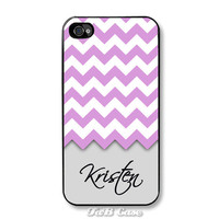 Lavender and Pebble Grey Chevron Monogram Personalized iPhone Case - Fits iPhone 5, 4, 4s. FREE SHIPPING - Worldwide.