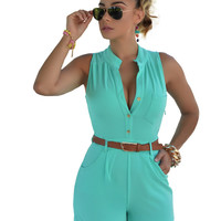 Mint Green Buttoned Romper with Belt