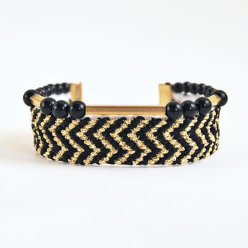 Boho friendship bracelet, chevron bracelet, black and gold bracelet, boho chic bracelet, wide bracelet
