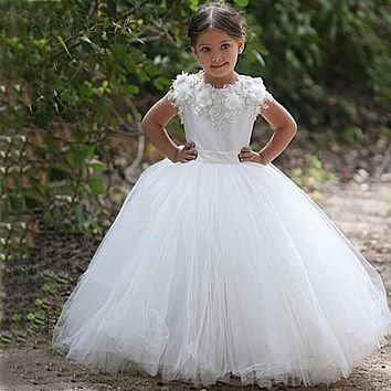 vestidos de comunion White Lace Appliques Ball Gown Long Flower Girl Dresses For Weddings 2016 first communion dresses for girls