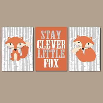 FOX WALL Art, Fox Nursery Art, Woodland Nursery Decor, Fox Birch Trees, Stay Clever Little Fox Quote, CANVAS or Prints, Set of 3 Wall Decor