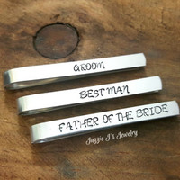 Customizable Gift-Hand Stamped Tie Clip, Tie Bar, Wedding Party Gifts, Gift for Him, Groomsman Gift, Anniversary Gift, Monogrammed Tie Clip