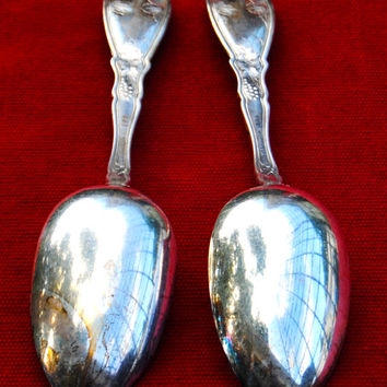 Vintage Silver Plated Serving Spoons Set of 2 William A Rogers//Grape Leaf Pattern