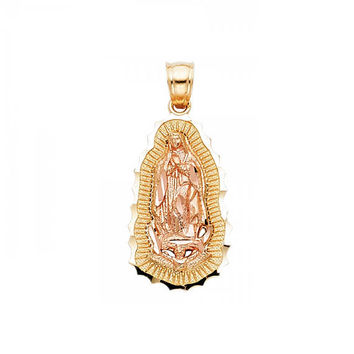 14K Solid Yellow Rose Gold Virgin Mary Pendant - Lady of Guadalupe Necklace Charm