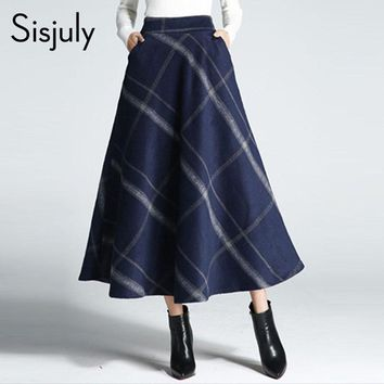 Sisjuly Women Skirts Summer Plaid Elegant Pleated Patchwork Chic Girl Print Long Skirts Female
