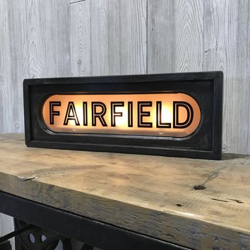 Fairfield | Vintage Lighted Railroad Lighted Box Sign | 22-in