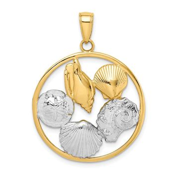 14k Yellow and White Gold Two-tone Shell Cluster in Circle Pendant Length 31mm