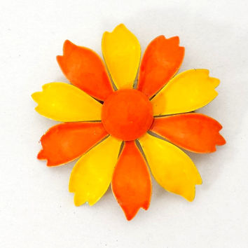 Enamel Flower Brooch, Vintage Orange and Yellow Daisy Pin, Retro 1960s Mod Costume Jewelry, 60s Style Jewellery Fashion Accessories