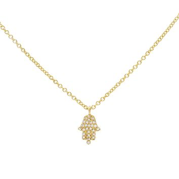 Diamond Mini Hamsa Necklace 14KT