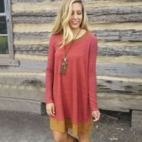 Simple Fashion Contrast Color Long Sleeves Short Dress