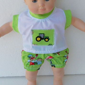 "Bitty Baby boy Clothes Handmade by Adorabledolldesigns to fit 15""Doll White Green Tractor Farm Print shirt & panties  spring summer"