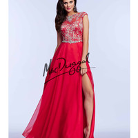Red Rhinestone Embellished Flowing Gown