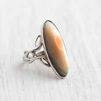 Vintage Sterling Silver Blister Pearl Ring - 1930s Size 3 Filigree Art Nouveau Style Statement Jewelry / Oblong Oval Luster