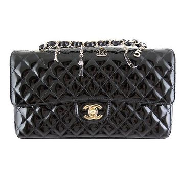 Chanel Ginza 5th Anniversary Black Patent Medium 2.55 Flap - Rare